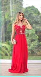 Canada Vente chaude élégant et élégant robes de soirée en mousseline de soie rouge retour avec nu tulle perles perles robe robes de bal Offre