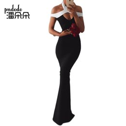 Wholesale Maxi Dress Front Sexy - Pndodo Women Celebrity Special Occasion Dresses Open Front Cold Shoulder Long Maxi Dress Hanging Neck Patchwork Sheath Dress