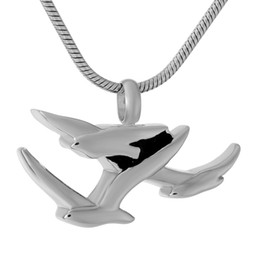 Wholesale Christmas Goose - DJX9317 Heavenly Group Flying Geese Stainless Steel Cremation Jewlery Silver Bird Memorial Urn Pendant Keepsake for Funeral Ashes Holder