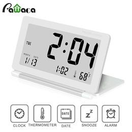 e235f7b9456 Ultra-fino Clamshell Relógio Despertador Casa Dobrável LCD Calendário Data  de Exibição Função Snooze Despertador Digital