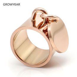 2019 meninas anéis dedo tamanho Rosa cor de ouro dangle anel mulheres meninas presente de aço inoxidável anel de dedo jóias para a festa EUA Tamanho 8 9 10 11 6 7 meninas anéis dedo tamanho barato