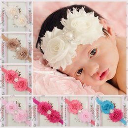 Wholesale Hair Color Edges - 28Colors 2.4'' Baby Girls Hair Accessories Ribbon 2pcs Rose Bows Headbands with crystal Rough Edge Infant Boutique Bow Elastic Hairbands