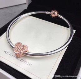 Wholesale Bar Sliders - 2018 classic gifts rose gold bangle CZ charm bracelets 925 sterling silver bracelets with small bag