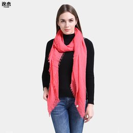 Wholesale ruched trim - YI LIAN Brand New Arrival Fashion Women Solid Long Summer Scarf Tassel Trims Cotton Ruched Shawl With Tassels SF945