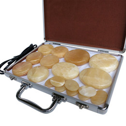 Nuovo tipo! 18 pz / set Hot stone massager del corpo giallo Jade Salon SPA con box riscaldante Stone Massage da