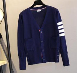Schwarze reißverschluss-cardigan online-Wholesale-New Ankunft Thom Brown Sports beiläufiges Sweatshirt riri Beschriftungs-Reißverschluss-Strickjacke, blaue und schwarze graue Hoodies