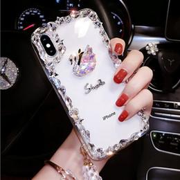 Творческий роскошный модный алмазный лебедь прозрачный чехол для мобильного телефона iphone 7 8 x xr xs max hot sale от Поставщики продажа лебедей