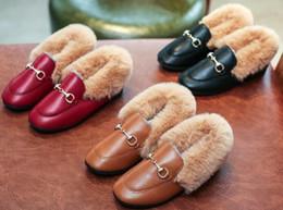 Costura de veludo on-line-Moda de inverno de salto alto crianças casuais veludo da pele engrossar meninas de pelúcia quente sapatos de couro ocidental de costura botas de neve bonito