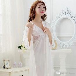 Wholesale- 2016 Summer New Hot Sale Womens Robe Sets Ladies Princess Nightgown  Lingerie Night Sleepwear Rayon Bathrobe Female Pyjama Pink c977e9408b44