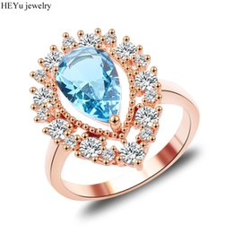 Wholesale Ocean Roses - whole sale2017 Charming Ocean Blue Opal Rings Aqua White CZ Rose Gold Filled Women Engagement Ring Fashion Style
