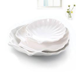 Рисовые раковины онлайн-Творческий стиль оболочки Белый меламин десерт тарелка фруктовый салат посуда рис суши блюдо лоток ZA6163