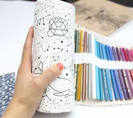 bolsa de plumas grande Rebajas Simple y portátil 36/48/72 Agujeros Big Constellation Caja de Lienzo Lienzo Rollo Bolsa Pencilcase Sketch Brush pen Pencil Bag Tools