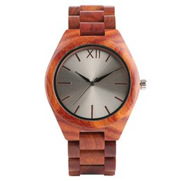 Wholesale Wood Wrist Watch Mens - Nature Wood Analog Mens Watches Creative Red Full Wooden Silver Face Handmade Women Quartz Wrist Watch Bamboo Fashion Men Clock