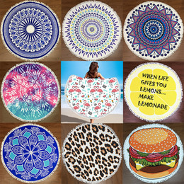 Wholesale Cotton Polyester Blanket - 150cm Round Beach Towel Mat Polyester Yoga Blanket Mat Bikini Outdoors Sports Swimming Bath Towel Shawl Wrap Pad Picnic Blanket WX9-514