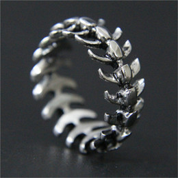 Wholesale Fish Support - whole sale1pc Support Drop Ship Cycle Fish Bone Ring 316L Stainless Steel Jewelry Men Boys Punk Cool Ring