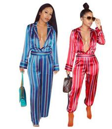 Wholesale Jumpsuits Shirts Bodysuit - 2018 Women Jumpsuits Long Sleeve Sexy Deep V fashion stripe shirt Rompers Slim Bodycon Bodysuit ladies Casual Workwear wide leg pants