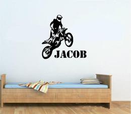 decorazione all'ingrosso della decorazione della parete della casa Sconti Commercio all'ingrosso New Personalizzato Qualsiasi Nome Motocross Motocicletta Wall Art Adesivo Vinile per Bambini Ragazzi Wall Sticker Carta Home Decor