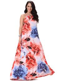 Vestidos bohemios Mujeres Halter Vestido largo maxi Estampado floral Casual Sin mangas boho Vestido de playa L-6XL desde fabricantes