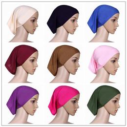 Wholesale muslim bonnets - 30cm*24cm Islamic Muslim Women's Head Scarf Mercerized Cotton Underscarf Cover Headwear Bonnet Plain Caps Inner Hijabs CCA9582 120pcs
