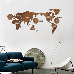Creative Wooden World Map Wall Clock 3D Map Decorative Design Home Decor  Living Room Modern European Style Round Mute Relogio De Parede