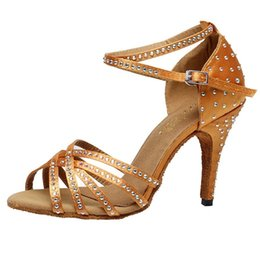 Wholesale Salsa Dance High Heels Shoes - Women's Satin Latin Dance Shoes Rhinestone Salsa Party Ballroom Dancing Shoes Soft Sole Suede Leather Soft Outsole Sandals