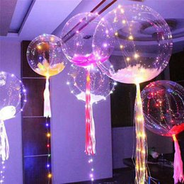 Wholesale Colorful Light Bubble - Luminous Led Balloon Colorful Transparent Round Bubble Decoration Party Wedding Balloons Lighting in Dark 3M String free shipping