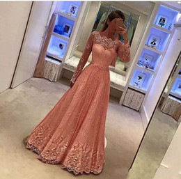 Wholesale modern baby formal gowns - Baby Pink Beaded Lace Evening Dresses With Sheer Long Sleeves 2018 Appliques Jewel Neck Prom Dresses 2019 Sweep Train Formal Party Gowns