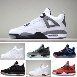 premium selection 16461 7e180 Nike air jordan 4 retro basketball shoes 4 designer sneakers 4s chaussures  de designer Pure Money Red White Cement marque chaussures homme Black cat  Bred ...