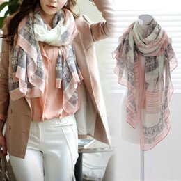 Wholesale Long Spring Scarf For Women - High quality Elegant Fashion Women Long Print Cotton Polyester Scarf Wrap Ladies Shawl Large Scarves size 168*78cm for Spring