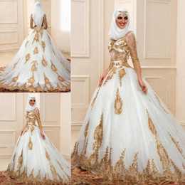 17018d902a60 indian style dresses Coupons - 2018 Fashion Muslim dubai Wedding Dresses 3  4 Sleeves With Gold