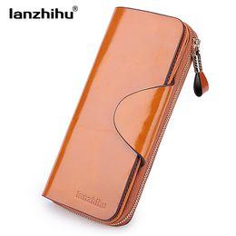 Wholesale Phone Blocks - Genuine Leather Wallet for Women Female RFID Blocking Wallets Big Travel Zipper Women's Purse Ladies Long Phone Holder
