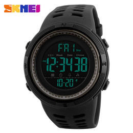 Wholesale Double Chronograph Watch Men - Wholesale-SKMEI Chronograph Sports Watches Men Double Time Countdown LED Digital Watch Military Waterproof Wristwatch Alarm Clock 1251