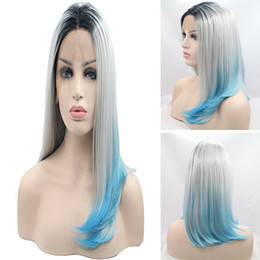 Wholesale Wig Gray Short - Wholesale price Short BOB Cosplay wigs 3 Tones Synthetic Lace Front Wig Black Gray light Blue Ombre Straight wig Heat Resistant Hair