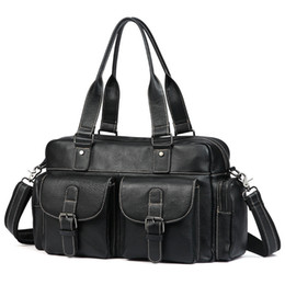 Luxury Soft Natural First Layer Cow Leather Men Handbag Multi Pockets 15