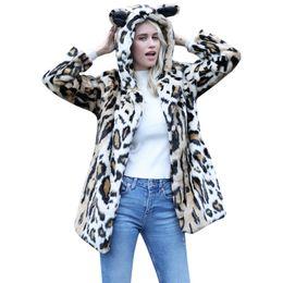 Femme Chat Oreille Chaud Hiver Top Ladies Pull Léopard Imprimer Jumper Outwear Veste Court Dames ? partir de fabricateur