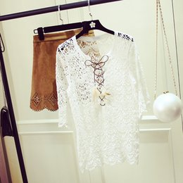 Wholesale Korean Womens Fashion Blouses - Lace Blouse Shirt Women Embroidery 2018 Korean Fashion Sexy Summer Womens Tops and Blouses Sun Protection Blusa Chemise Femme