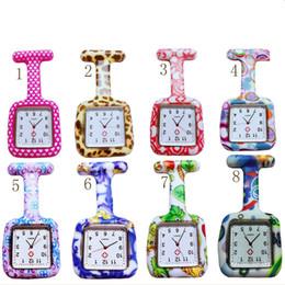 Argentina Venta al por mayor 26 colores Square Colorful Prints Silicona Enfermera reloj de bolsillo Relojes Doctor Fob reloj de cuarzo relojes regalo de los niños DHL envío gratis Suministro