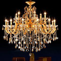 Clássico de cristal para sala de estar on-line-Candelabro de ouro Clássico LEVOU Lustres de Cristal Lustre de Teto Sala de estar Iluminação Moderna Luminária Lustres