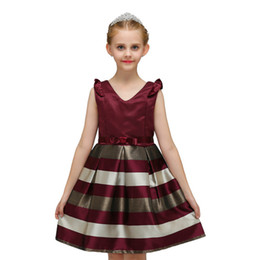 Wholesale Little Princess Dresses Free Shipping - Girls Princess Dresses 2 Color Children Little Fly Sleeves Striped Bow V-Neck Dress Skirt Girls Party Dresses Ball Gown Free Shipping B0194