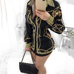 Wholesale Sexy Dresses Chains - Women Ladie Fashion Stand Collar Gold Chain Printed T Shirt Dress Club Mini Dress Long Sleeved