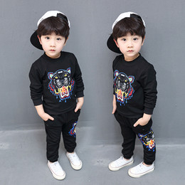 Wholesale Head Brand Baby - 2018 New Tiger head children boy casual Tracksuits Infant outfits kids clothing sets boy sport suit for children , baby boy Sport suit