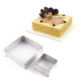 Wholesale mousse molds - Stainless Steel Adjustable Cake Mousse Ring set of 2, Round & Square Cake Mould Cakes Molds