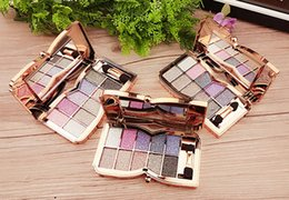 Wholesale bright eyeshadow palettes - Eye Shadow Eyeshadow Makeup Palette 10 Colors Shimmer Diamond Bright Natural Colorful Colors High Quality Cosmetics with Brush and Mirror