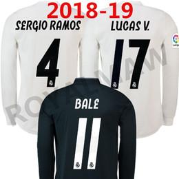 Maillot manches longues espagne en Ligne-Camiseta de la 1ª équipe du Real Madrid 18-19 de manga 2ª BALE ISCO Maillot de football à manches longues à manches longues de football à domicile Espagne
