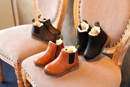 Chaussures de dressage pour garçon en Ligne-Enfants Automne Bébé Garçons Oxford Chaussures Pour Enfants Robe Bottes Filles De La Mode Martin Bottes En Bas Âge PU Ieather Bottes Noir Brun Gris EU21-36cm