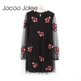 Wholesale Embroidery Dress Shop - Jocoo Jolee Women Embroidery Flower Casual Dress Sexy Fluoroscopy Black Dresses Knee Dress Clothing 2017 2017 Global Shopping