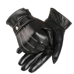 Wholesale Brown Driving Gloves - 1 Pair Driving Motocycle Gloves Men Luxury PU Leather Leather Tactical Gloves Winter Hand Warm Cashmere Mittens Guantes #JOYL