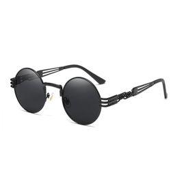 Luxo Rodada Óculos De Sol Steampunk Homens Mulheres Moda Óculos Com Armação De Metal Marca Designer Retro Vintage Óculos De Sol UV400 Óculos Barato supplier cheap rounds de Fornecedores de rodadas baratas