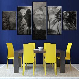 Wholesale people oil painting canvas - Wall Art Modular Poster Framework Pictures 5 Piece Pcs India People HD Printed Modern Canvas Painting Home Decoration Living Room