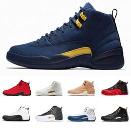 wholesale dealer 2e597 481ff Air Jordan Retro 12 AJ12 Nike 12 12s Mann Basketball Schuhe Michigan WINGS  Navy Stiere UNC Grippe Spiel der Meister schwarz weiß Taxi Männer Sport  Designer ...